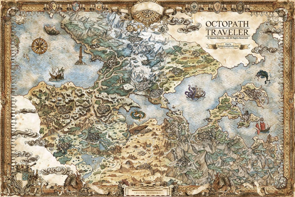 Official Map of Orsterra in Octopath Traveler, developed by Square Enix